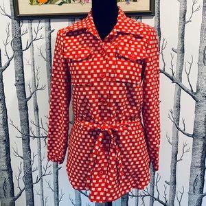 Vintage Red White Gingham Knit Top w/Tie Waist